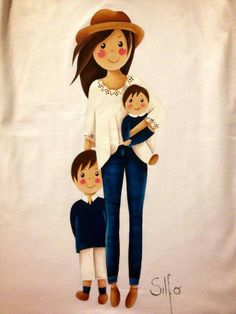 . Mother Daughter Art, Mother Art, Mother And Child, Wedding Couple Quotes, Family Drawing, Girly Drawings, Family Illustration, Baby Memories, Cute Cartoon Wallpapers