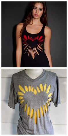 DIY Cutout Heart Tee Shirt Tutorial from Wobisobi. This is a... | TrueBlueMeAndYou: DIYs for Creative People | Bloglovin' Clothing Hacks, Diy Shirts No Sew, Old T Shirt Diy, Diy Old Tshirts, Tee Shirt Crafts, Diy Clothes Tops, Diy Clothes For Summer, Sewing Clothes, Reuse Old Clothes