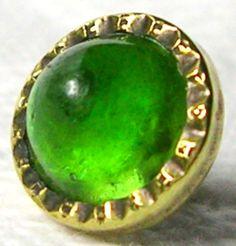 ANTIQUE GILT BRASS GENT'S WAISTCOAT BUTTON w/KIWI GREEN VASELINE GLASS JEWEL