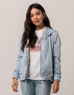 020eaf7417ad FULL TILT 2-Fer Knit Ice Blue Womens Coach Jacket