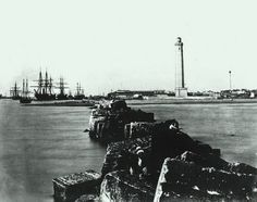 Port Said The concrete breakwater and lighthouse 1875