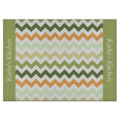 Citrus Tones Chevron Glass Cutting Board ...............This design features a Citrus Tones Chevron pattern. These colors are citrus fruits. The TEXT on both sides (left and right) can be customized with your own name. Check out my store for more colors.