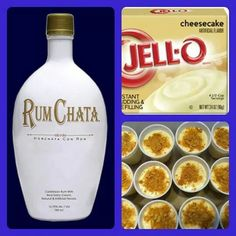 Rum Chata Cheesecake Pudding Shots (Share so ya don't lose it) 1 small pkg. Cheesecake pudding (instant, not the cooking kind) ¾ Cup Milk ¾ Cup Rum Chata tub Cool Whip Snacks Für Party, Party Drinks, Cocktail Drinks, Fun Drinks, Yummy Drinks, Alcoholic Drinks, Yummy Food, Party Shots, Mixed Drinks