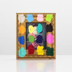 Portraits With Color Grids (Diptych) 1 - paint on found print and frame - 2013 - 5,75 x 5 x 0,75 - 002