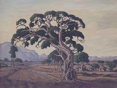 Pierneef's 'Die Kommandoboom, op pad na Sibasa' Tree Paintings, Georges Braque, Art Studios, South Africa, Cool Art, Trees, African, Artists, Landscape