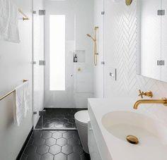 White backsplash ideas exceptional bathroom herringbone tile with black hexagon flooring subway kitchen images countertop river Black Tile Bathrooms, Hexagon Tile Bathroom, Bathroom Tile Designs, Upstairs Bathrooms, Bathroom Interior Design, Bathroom Wall, Small Bathroom, Bathroom Flooring, Dark Floor Bathroom