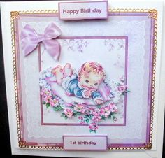 vintage baby on a blanket card with decoupage on Craftsuprint designed by Angela Wake - made by Mary Murphy