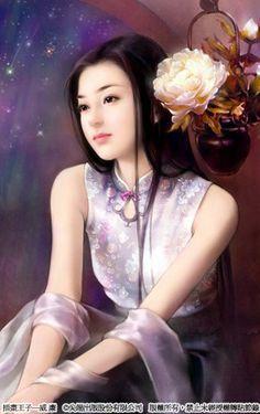 Flower girl Chinese Drawings, Chinese Art, Chinese Painting, Beautiful Fantasy Art, Beautiful Anime Girl, Korean Art, Asian Art, Beauty Art, Beauty Women