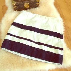 J.crew cotton skirt White with navy 'paintbrush' stripes J. Crew Skirts Mini