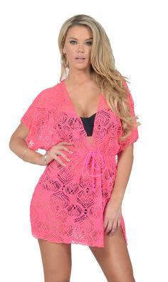 0b4d78160a8 Women s Plunging V Neck Drawstring Waist Crochet Swimsuit Beach Cover Up  Dress