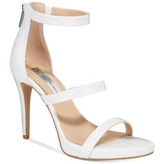 Inc International Concepts Sadiee Strappy Dress Sandals, ($100) ❤ liked on Polyvore featuring shoes, sandals, bright white, strap sandals, strappy shoes, platform shoes, dress sandals and platform stilettos