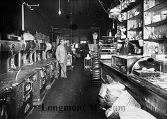 Photographic: Interior of Bill Miller's second hand store in Longmont, Colorado  Date	1911-1912