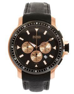 Hugo Boss | Hugo Boss Leather Black Chronograph Watch
