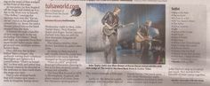 Tulsa World newspaper article about Duran Duran concert at The Joint in the Hard Rock Hotel & Casino in Tulsa, Oklahoma on August 15, 2012