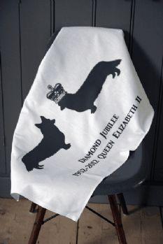 Corgi Diamond Jubilee Commemorative Tea Towel - designed by Lola Rockett