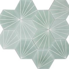 Marrakech Design - Dandelion hexagonal Tile in Celadon/Milk color