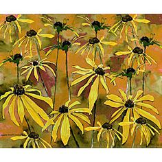 @Overstock - This beautiful watercolor print brings shape to the world of flowers. The flowers' soft petals speckle the surface to create an interesting mix of shapes and simplicity in this art piece.  http://www.overstock.com/Main-Street-Revolution/Ed-Wade-Jr.-Gold-Flowers-Watercolor-Art-Print/5192041/product.html?CID=214117 $15.49