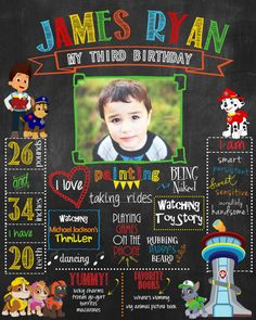 Paw Patrol Chalkboard poster for birthday or by HaleyMadisonDesign, $20.00