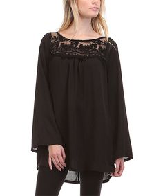Look what I found on #zulily! Black Lace-Yoke Tunic by sun n moon #zulilyfinds