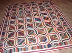 Love this string quilt block with nine patch sashing: Will recreate this.