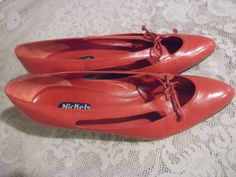 1970s Shoes Flats Cherry Red Italian Leather by 1920SFLAPPERGIRL, $28.00