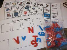 4 LETTER WORDS Spelling Board Reading Phonics Lakeshore Learning  ESL ELL Autism #TeacherMadeCardsLakeshoreLetters