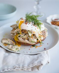 Have leftover chicken?  Make this chicken salad!  No mayo! Plus.. everything's better with a poached egg on top! - From sweetpaulmag.com