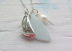 Sea necklace with sail boat, sea glass, & pearl