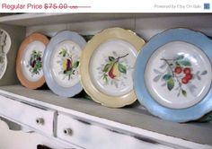 ON SALE Four Fruit & Berry Scalloped Pastel Cabinet Plates