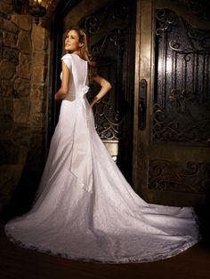 $269.99 Short Sleeves Beaded Sash Satin Lace A-line Modest Wedding Dress W1502