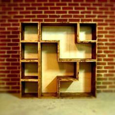 A bookcase that was inspired by the classic puzzle game. Each piece can be moved and rearranged into whatever shape and function you desire. Bookshelf Bench, Built In Bookcase, Bookshelves, Videogames, Office Inspo, Reading Room, Home And Garden, Just For You, Storage