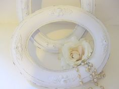 Two Shabby White Antique Wood and Gesso Oval Picture Frames