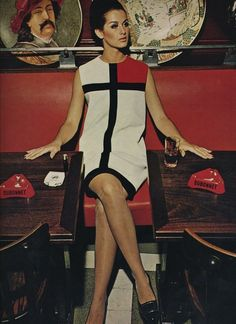 Veronica Hamel in a Mondrian dress by Yves St Laurent.
