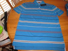 Men's Tommy Hilfiger Polo shirt stripe knit logo 7825560 Reef Turquise 461 L #TommyHilfiger #polo
