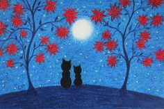 #Cat Card, #Mothers Day Card, #Moon Card, #Flowers Card, Black Cats Card, #Children Card, Cat Moon #Stars Card, #Fathers Day Cat Card, Kitten Card by ClaudinesArtCards on Etsy