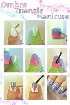 Ombré nail art triangle