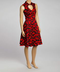 64493e5040 Love this Black   Red Heart Cutout Fit   Flare Dress on