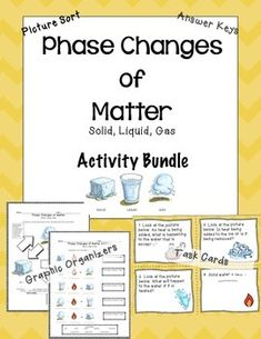 States of Matter and Phases Changes - Solid, Liquid, Gas.Melting, Freezing, Condensation, Evaporation, Deposition, Sublimation.This bundle includes:- 2 Phases Changes & States of Matter Graphic Organizers- Graphic Organizers Answer Keys- Picture Word Sort (24 pictures)- Picture Word Sort Student Answer Sheet- 20 Phase Changes Task Cards- Task Card Student Answer Sheet- Task Card Answer KeyThank you for downloading!