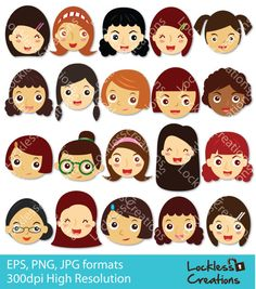 Girls Happy Faces Digital Clip Art by LocklessCreations on Etsy, $5.00