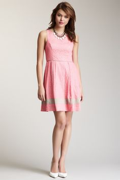 Sleeveless Pink Lace Dress with Beige Band
