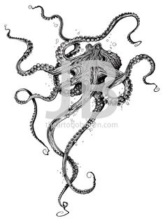 Krake Kunstdruck - Octopus Tattoo - Garden Pot Design - DIY Bathroom - Hairstyle For School - Ideas DIY Jewelry Octopus Tattoo Design, Octopus Tattoos, Tattoo Designs, Octopus Shower Curtains, Tattoos Mandala, Petit Tattoo, Stippling Art, Geniale Tattoos, Arte Sketchbook