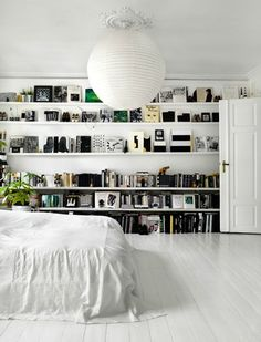 Floor to ceiling shelves.