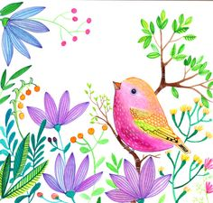 Pink Bird Purple flowers Illustration Nursery от sublimecolors