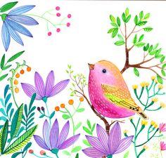 Pink Bird Purple flowers Illustration nursery living room wall art.  It is a beautiful Floral Wall Art Print from Original Painting of Pink Bird