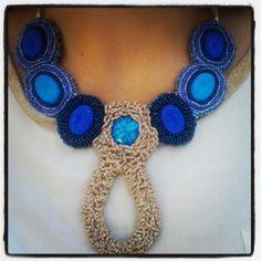 Blue beige beaded bib necklace statement necklace by LLiLLiRuas, $34.00