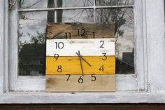 Modern. Industrial Chic. Rustic.  Handmade Pallet Wood Clock.  Mustard Yellow.  Ivory.  Wall clock.  Gift idea.