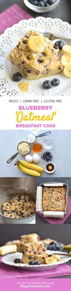 "Have cake for breakfast with this grain-free ""oatmeal"" cake bursting with sweet blueberries! Dairy Free Recipes, Paleo Recipes, Real Food Recipes, Dessert Recipes, Cooking Recipes, Desserts, Oatmeal Cake, Blueberry Oatmeal, Blueberry Cake"