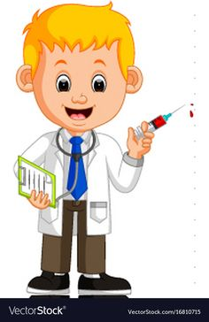 Happy doctor holding syringe vector image on VectorStock Teaching Weather, Teaching Kids, Doctor Images, Community Helpers Preschool, My Little Pony Birthday Party, Hello Kitty Images, School Painting, Disney Mouse, Kids Canvas