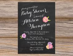 Chalkboard Peonies Calligraphy Baby Shower Invitation ~ DIY Printable Digital Files ~ Use coupon code PINTEREST15 at checkout for 15% off of your total order! Rustic Chic