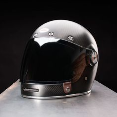 Bell Bullitt Helmet Carbon Matte Black Side View with Clear Bubble Shield